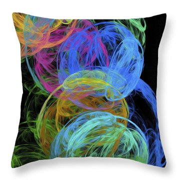 Abstract Bubbles Throw Pillow by Andee Design
