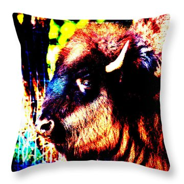 Abstract Buffalo Throw Pillow by Lon Casler Bixby