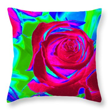 Burgundy Rose Abstract Throw Pillow