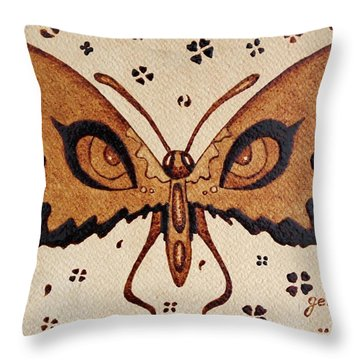 Abstract Butterfly Coffee Painting Throw Pillow by Georgeta  Blanaru