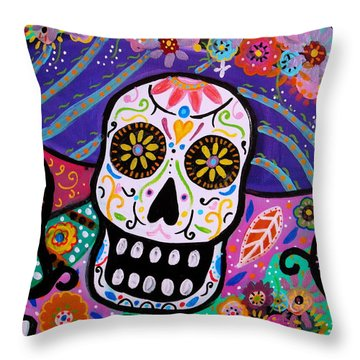 Throw Pillow featuring the painting Abstract Catrina by Pristine Cartera Turkus