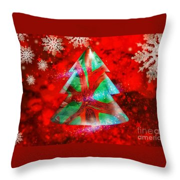 Abstract Christmas Bright Throw Pillow