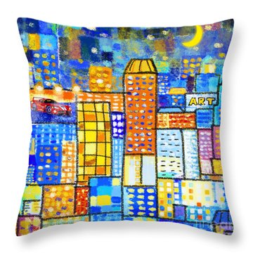 Abstract City Throw Pillow by Setsiri Silapasuwanchai