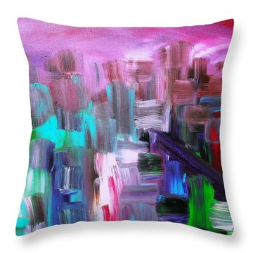 Throw Pillow featuring the painting Abstract Cityscape I by Pristine Cartera Turkus