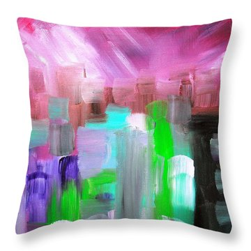 Throw Pillow featuring the painting Abstract Cityscape II by Pristine Cartera Turkus
