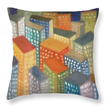 Abstract Cityscape Series Throw Pillow by Patricia Cleasby