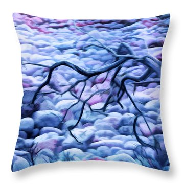 Abstract Claw Driftwood And Cobblestones At Cobblestone Beach, Acadia National Park Throw Pillow