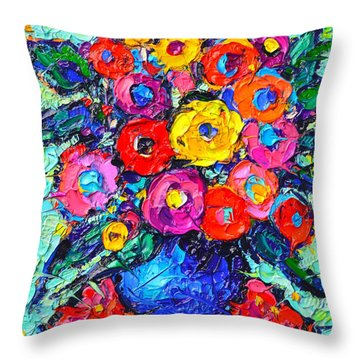 Abstract Colorful Wild Roses Modern Impressionist Palette Knife Oil Painting By Ana Maria Edulescu  Throw Pillow