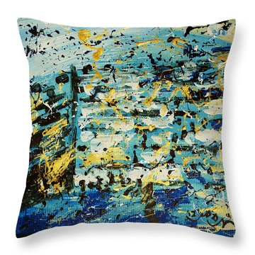 Abstract Contemporary Western Wall Kotel Prayer Painting With Splatters In Blue Gold Black Yellow Throw Pillow