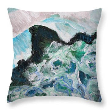 Abstract Crashing Waves Throw Pillow