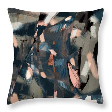 Throw Pillow featuring the digital art Abstract Cube Fish With Overbite by Nola Lee Kelsey