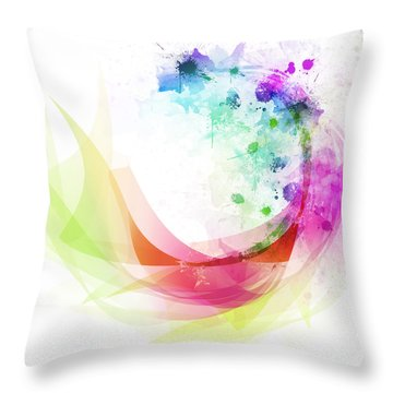 Abstract Curved Throw Pillow by Setsiri Silapasuwanchai