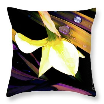 Abstract Daffodil And Droplets Throw Pillow