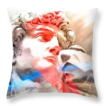 Throw Pillow featuring the painting Abstract David Michelangelo 2 by J- J- Espinoza