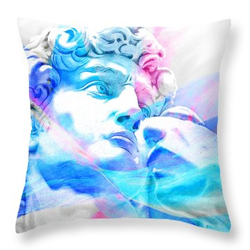Throw Pillow featuring the painting Abstract David Michelangelo 3 by J- J- Espinoza