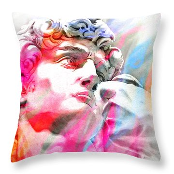 Throw Pillow featuring the painting Abstract David Michelangelo 4 by J- J- Espinoza