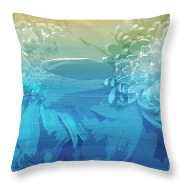 Throw Pillow featuring the painting Abstract Floral Dl212016 by Mas Art Studio
