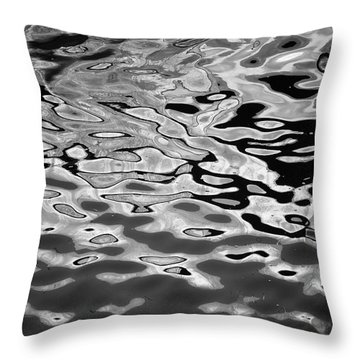 Abstract Dock Reflections I Bw Throw Pillow
