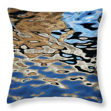 Abstract Dock Reflections I Color Throw Pillow