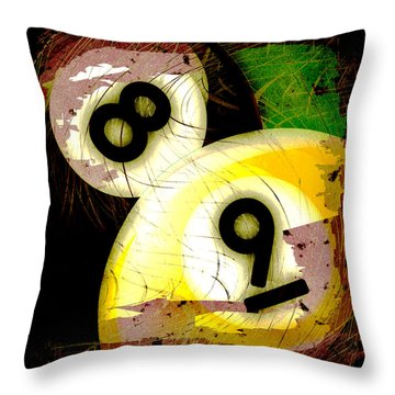 Abstract Eight And Nine Billiard Balls Throw Pillow by David G Paul