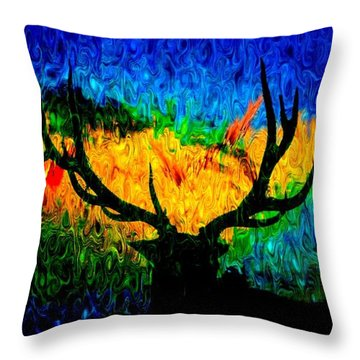 Abstract Elk Scenic View Throw Pillow