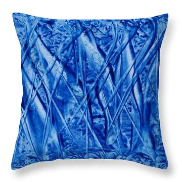 Abstract Encaustic Blues Throw Pillow