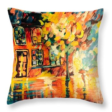 Throw Pillow featuring the painting Abstract Expressionism by Janelle Dey