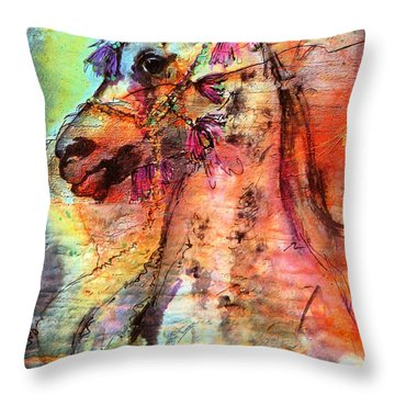 Abstract Expressive Arabian Stallion Art Throw Pillow