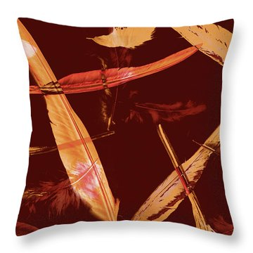 Abstract Feathers Falling On Brown Background Throw Pillow