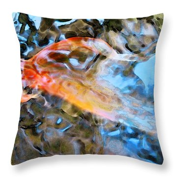 Abstract Fish Art - Fairy Tail Throw Pillow by Sharon Cummings