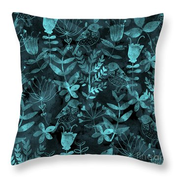 Abstract Floral And Birds Throw Pillow