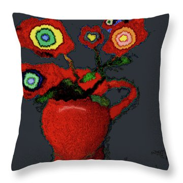 Abstract Floral Art 90 Throw Pillow