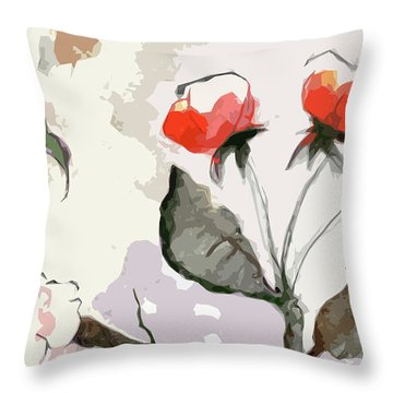 Abstract Floral Art Pink Blossoms 2 Throw Pillow