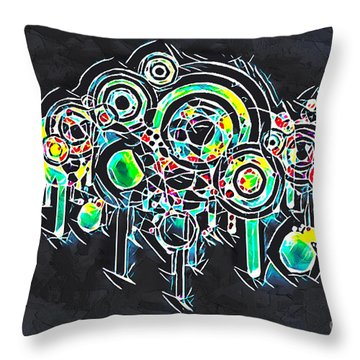 Throw Pillow featuring the mixed media Abstract Floral by Lita Kelley