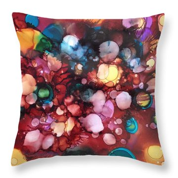 Throw Pillow featuring the painting Abstract Floral by Suzanne Canner