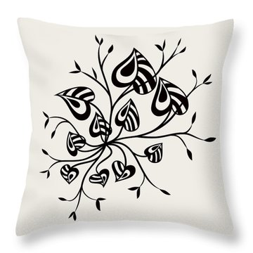 Abstract Floral With Pointy Leaves In Black And White Throw Pillow