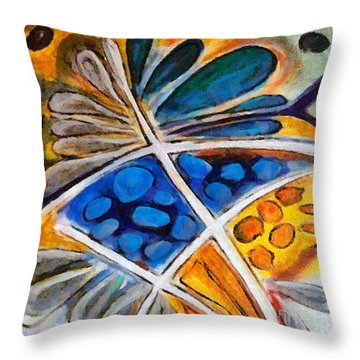 Throw Pillow featuring the painting Abstract Flower by Dragica  Micki Fortuna