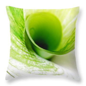 Abstract Green Wite Flowers Macro Photography Art Work Square Throw Pillow