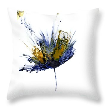 Abstract Flower Navy Blue Yellow 1 Throw Pillow by Catherine Jeltes