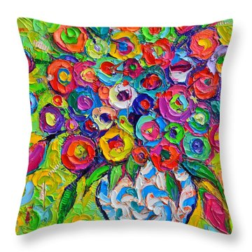 Abstract Flowers Of Happiness Impressionist Impasto Palette Knife Oil Painting By Ana Maria Edulescu Throw Pillow