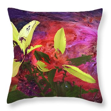 Abstract Flowers Of Light Series #16 Throw Pillow