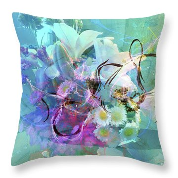Abstract Flowers Of Light Series #9 Throw Pillow