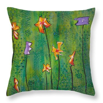 Abstract Flowers Orange, Purple Throw Pillow by Patricia Cleasby