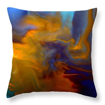 Abstract Fluid Art Escape Into The Unknown Liquid Painting Macro Photography By Kredart Throw Pillow