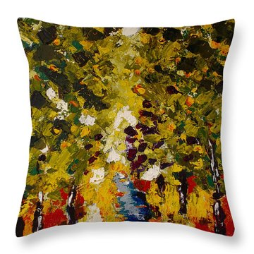 Throw Pillow featuring the painting Abstract Forest #1 by Zeke Nord