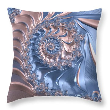 Abstract Fractal Art Rose Quartz And Serenity  Throw Pillow