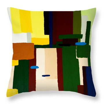 Throw Pillow featuring the painting Abstract Fun by Karen Nicholson