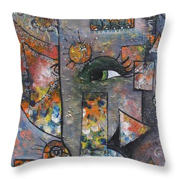 Throw Pillow featuring the painting Abstract Ganesha  by Prerna Poojara