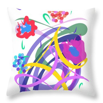 Throw Pillow featuring the digital art Abstract Garden #2 by Bee-Bee Deigner