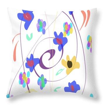 Abstract Garden Nr 7 Naif Style Throw Pillow